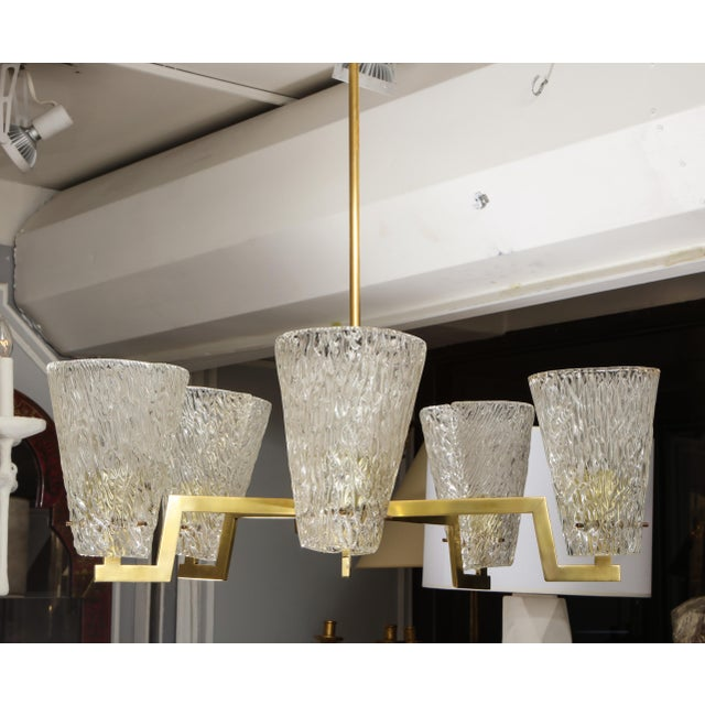 Sculptural Brass and Glass Six-Arm Hanging Fixture