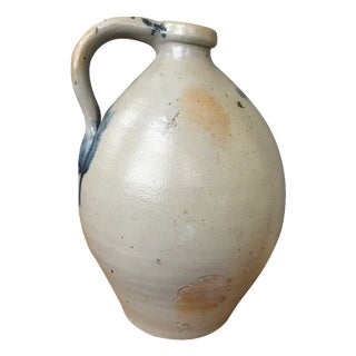 Antique Ovoid Stoneware Jug With Cobalt Blue From Maine Estate For Sale