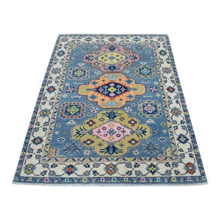 Colorful Blue Fusion Kazak Wool Hand Knotted Rug For Sale