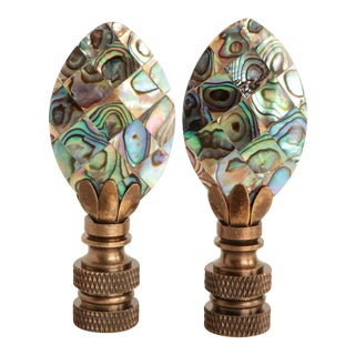 Abalone Mosaic Lamp Finials, Pair