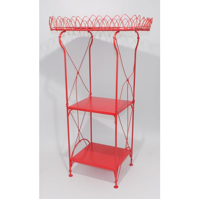 French Country Farmhouse Red Metal Shelf For Sale - Image 4 of 8