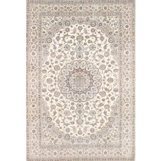 "Pasargad Persian Nain Silk & Wool Rug - 7' 3"" X 10' 9"" For Sale"
