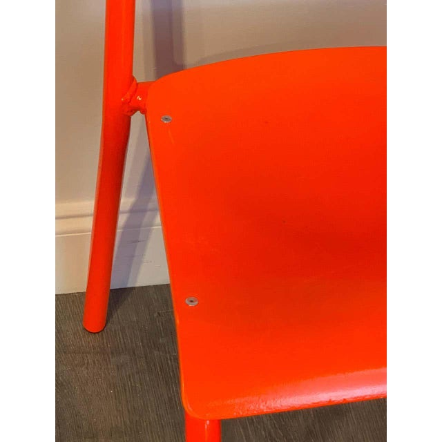 Early 21st Century Declercq Mobilier Modern Ml45 Neon Red Chairs - Set of 6 For Sale - Image 5 of 13