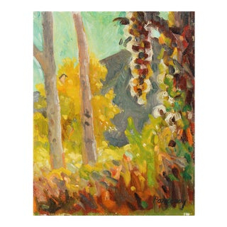 Frederick Pomeroy Autumn Forest Landscape in Oil, 20th Century For Sale