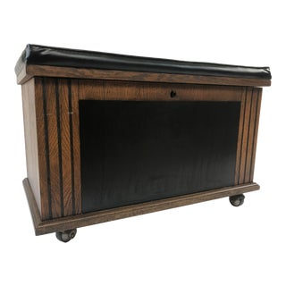 Mid Century Modern Record Chest Bench With Padded Top by Lane Furniture For Sale