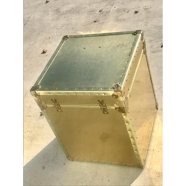 1960s Hollywood Regency Small Gold Metal Trunk For Sale - Image 4 of 13
