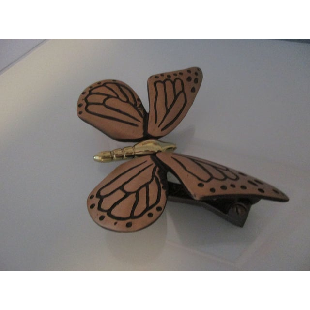 Boho Chic Bronze and Brass Monarch Butterfly Door Knocker For Sale - Image 3 of 11