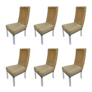 Set of Six Charles Hollis Jones Dining Chairs in Lucite and Nickel For Sale