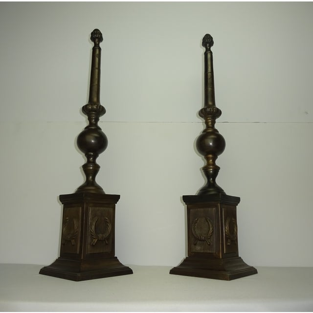 Oversized Bronze Neoclassical Finials - A Pair - Image 5 of 8