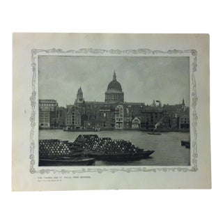 """1906 """"The Thames and St. Paul's From Bankside"""" Famous View of London Print For Sale"""