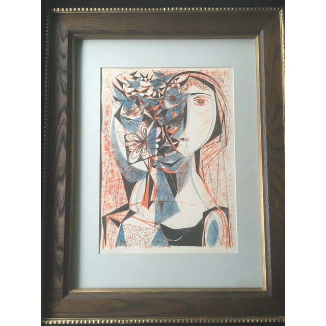 Vintage Mid-Century Richard Zoellner Abstract Woman Flower Lithograph Print For Sale - Image 9 of 13