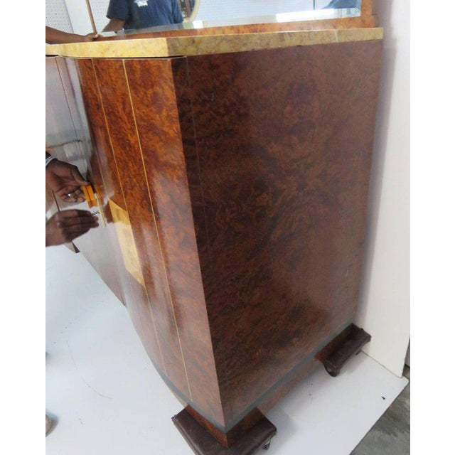 Mid Century Modern Burl Walnut Inlaid Marble-Top Sideboard With Mirror For Sale In Philadelphia - Image 6 of 11