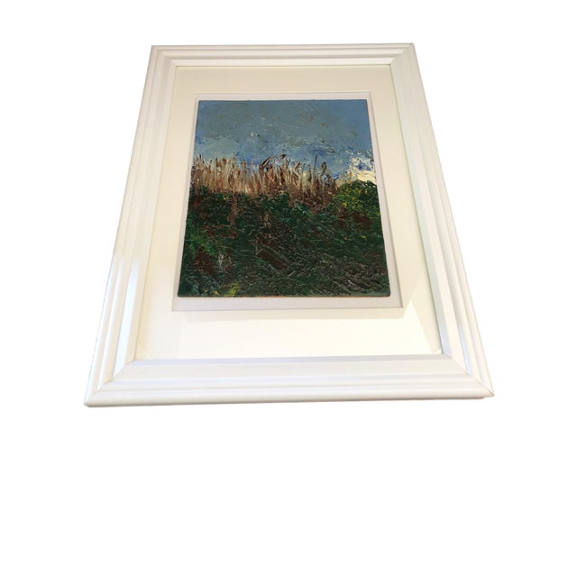 Abstract Acrylic on Masonite Framed Landscape For Sale - Image 3 of 6