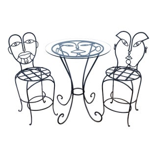 1980s Vintage Whimsical John Risley Style Stool & Table- Set of 3 For Sale