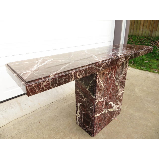 Willy Rizzo 20th Century Hollywood Regency Variegated Marble Pedestal Console or Entryway Table For Sale - Image 4 of 13