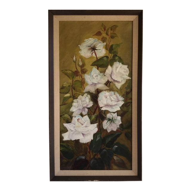 Vintage Blooming White Roses Framed Oil Painting For Sale