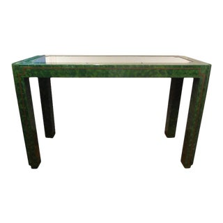 Mid-Century Karl Springer Inspired Green Lacquer and Brass Console Table For Sale