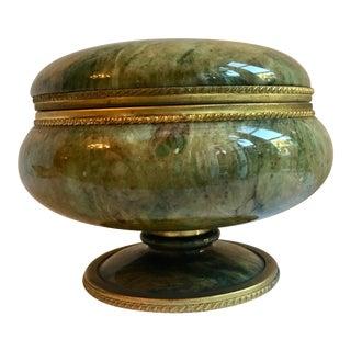 Footed Lidded Marble Vanity Jar For Sale