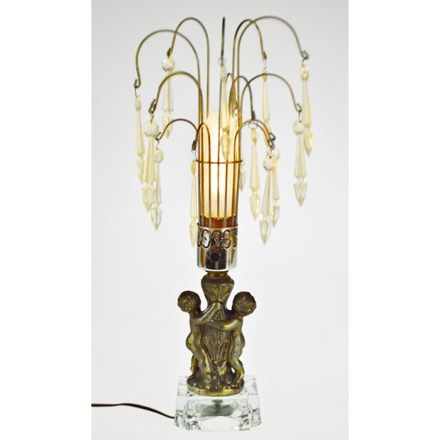 Hollywood Regency Cherub Waterfall Prism Accent Lamp For Sale In Philadelphia - Image 6 of 12