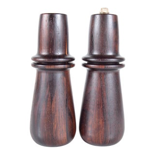 Digsmed of Denmark Rosewood Peppermill and Matching Salt Shaker For Sale