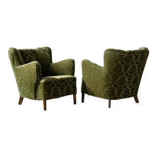 1940s Fritz Hansen Danish Model 1669 Style Lounge Chairs - a Pair For Sale