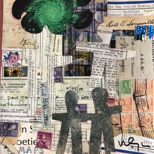 Original collage done with vintage papers laid down on mat board size of collage is 8 x 10 Unframed signed