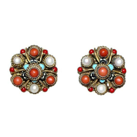 Traditional Austro Hungarian Coral & Pearl Earrings, Vintage Earrings, Coral Earrings, Pearl Earrings, Gifts for Her, Ausro Hungarian Jewelry For Sale - Image 3 of 3