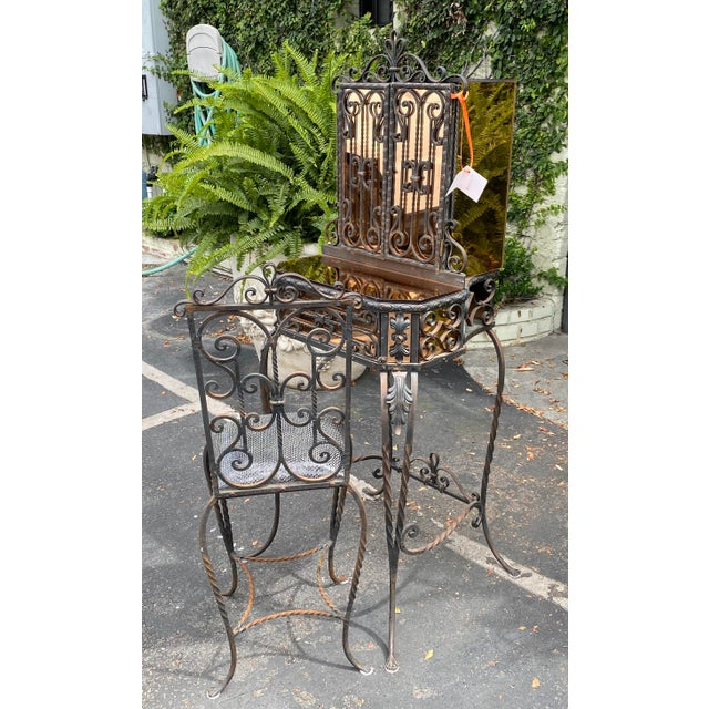 1930s Antique Art Deco Spanish Wrought Iron Champagne Mirrored Vanity & Chair - a Pair For Sale - Image 5 of 11