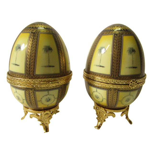 Hinged Porcelain Egg Trinket Box With Palm Trees - A Pair - Image 1 of 7