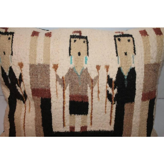 This fantastic mellow colors Navajo weaving has the original corner ties and in great as found condition. The backing is...