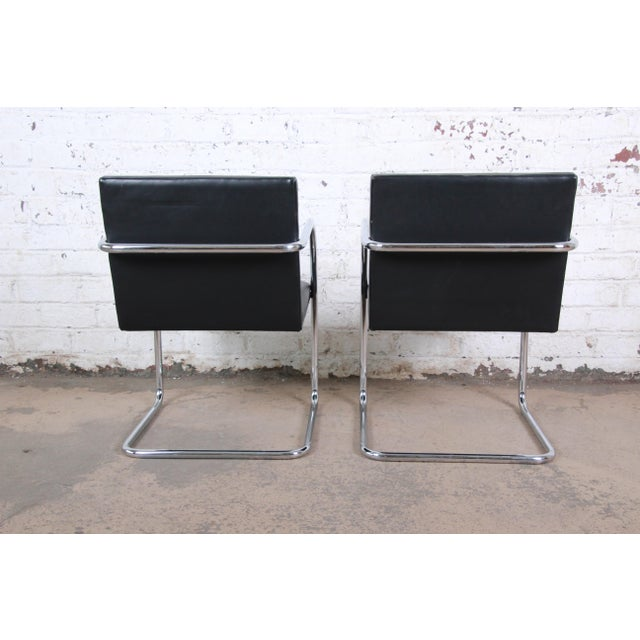 2000 - 2009 Mies Van Der Rohe for Knoll Black Leather and Chrome Brno Chairs - a Pair For Sale - Image 5 of 8