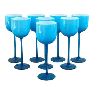 1960s Carlo Moretti Blue Wine Glass Set of 8 For Sale