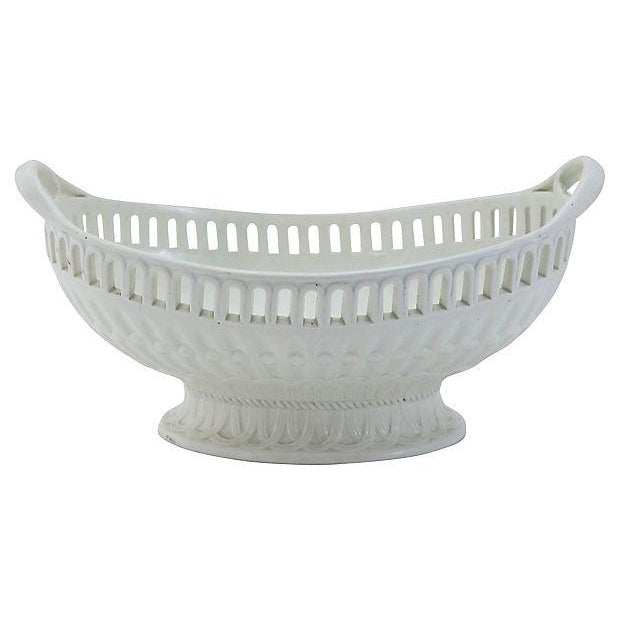 English Traditional Antique Creamware Basket & Tray - 2 Pieces For Sale - Image 3 of 6