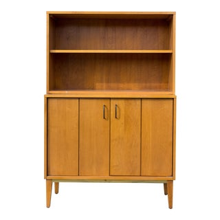 Milo Baughman for Murray Furniture Co. Solid Maple Cabinet and Hutch