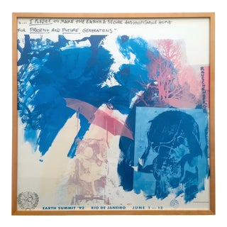 """Robert Rauschenberg Foundation Rare Vintage 1991 Lmtd Edtn Earth Summit """" Last Turn - Your Turn """" Framed Lithograph Print For Sale"""