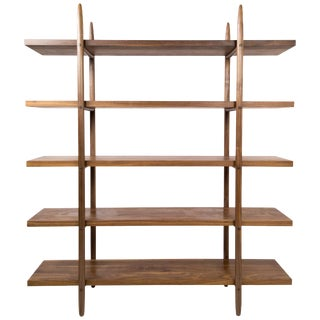 Deepstep Shelving Bookshelf With Wood Detailing by Birnam Wood Studio For Sale