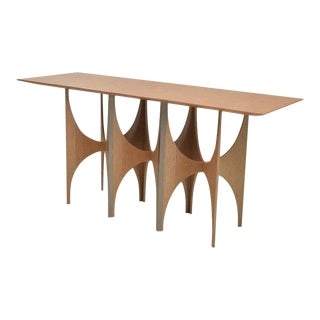 Modern Arc Wood Brass and Steel Console Table For Sale