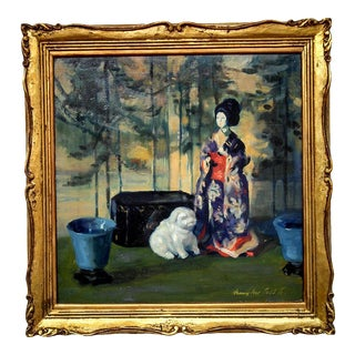 1920s Still Life With Japanese Doll Paintingby Henry Ives Cobb Jr., Framed For Sale
