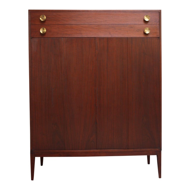 Midcentury Walnut and Brass Gentleman's Chest after Paul McCobb For Sale