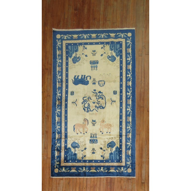 Antique Chinese Pictorial Elephant Rug, 4'9'' X 7'8'' For Sale - Image 13 of 13