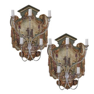 Chinoiserie Painted Sconces - A Pair For Sale