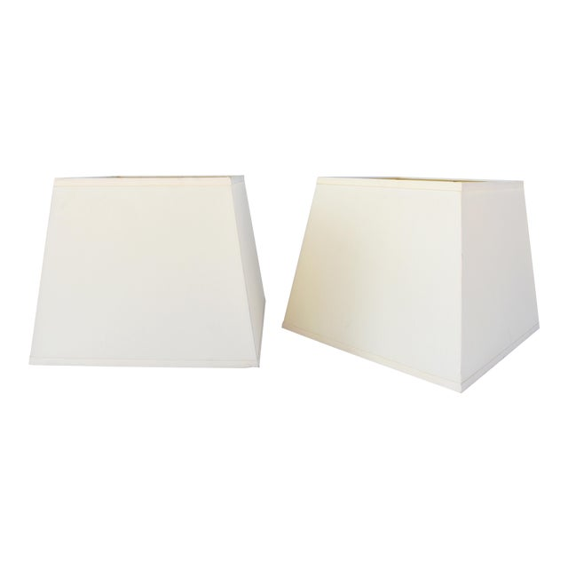 Ivory Silk Square Shades W/Diffusers - a Pair For Sale