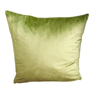 Luxury Moss Green Italian Velvet Pillow With Feather Insert For Sale