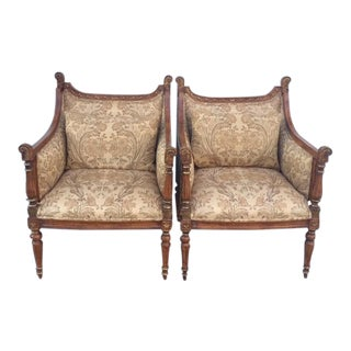 1980s Vintage French Empire Bergere Chairs- A Pair For Sale
