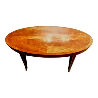 English Regency Mahogany Banded Inlay Coffee Table on Casters