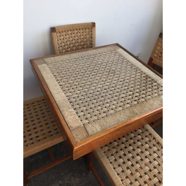 Mid Century Jute Dining Set For Sale - Image 4 of 10