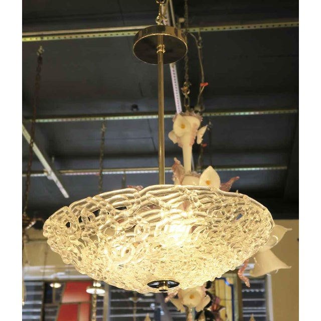 Early 21st Century Lattice Blown Glass Domed Pendant Light For Sale - Image 5 of 7