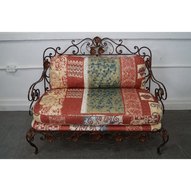 Custom Quality Ornate Wrought Iron Rococo Style Settee w/ Cushions AGE/COUNTRY OF ORIGIN: Approx 25 years, America...