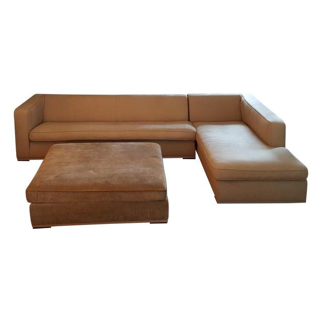Antonio Citterio for B&b Italia Sectional Sofa & Large Ottoman For Sale