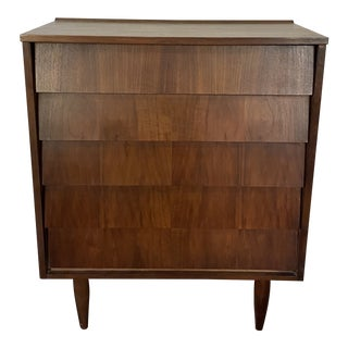 1960s Midcentury Modern Louvered Front Chest of Drawers For Sale